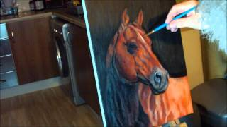 Fast drawing - American Quarter Horse in oil on canvas