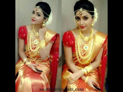 Beautiful South Indian Bride Sarees And Jewelry