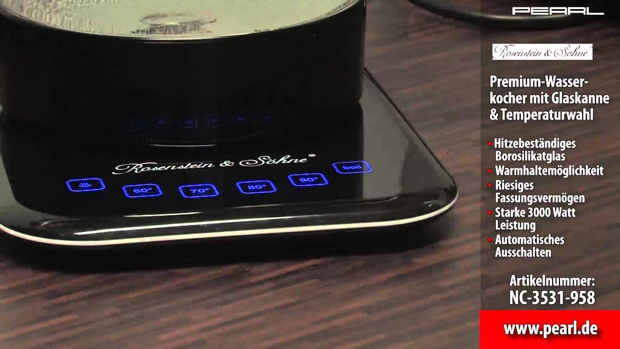 Premium GlasWasserkocher mit Temperaturwahl  Rosenstein  ~ Wasserkocher Mit Temperaturwahl