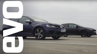ford focus rs vs volkswagen golf r which is fastest   evo drag battle