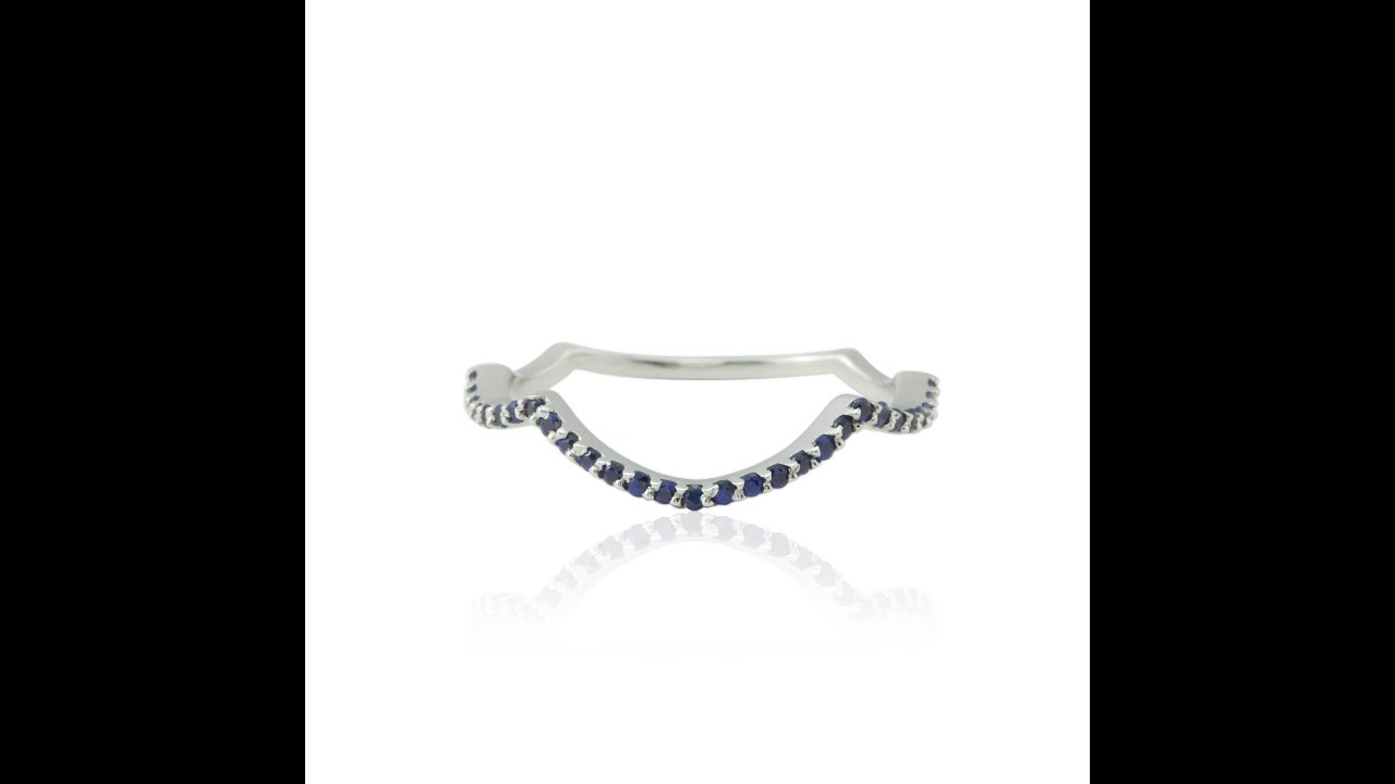 Blue Sapphire and White Gold Contour Wedding Band LS2901