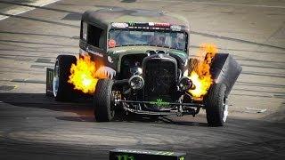 The FLAMETHROWER RAT ROD Epic Drift Show / Gymkhana