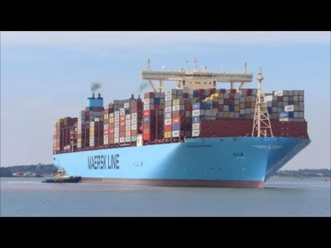 Maiden voyage Moscow Maersk the 2nd largest container ship arrives to Felixstowe  28th August 2017