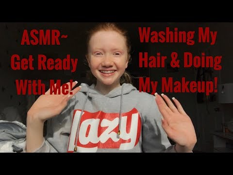 ASMR~ Get Ready With Me! Washing My Hair & Doing My Makeup - 동영상
