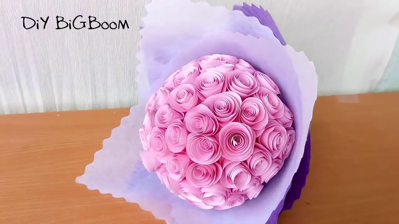HOW TO MAKE PAPER FLOWER BOUQUET TUTORIAL EASY STEP BY STEP - YouTube