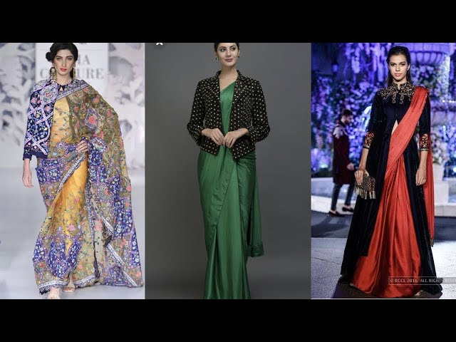 Saree with jackets || jacket saree || Kaur Trends