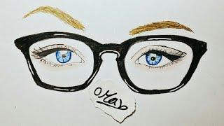 تعليم الرسم بالرصاص | و الالوان الخشب | كيف ترسم عين و نظارة خطوة بخطوة للمبتدئين