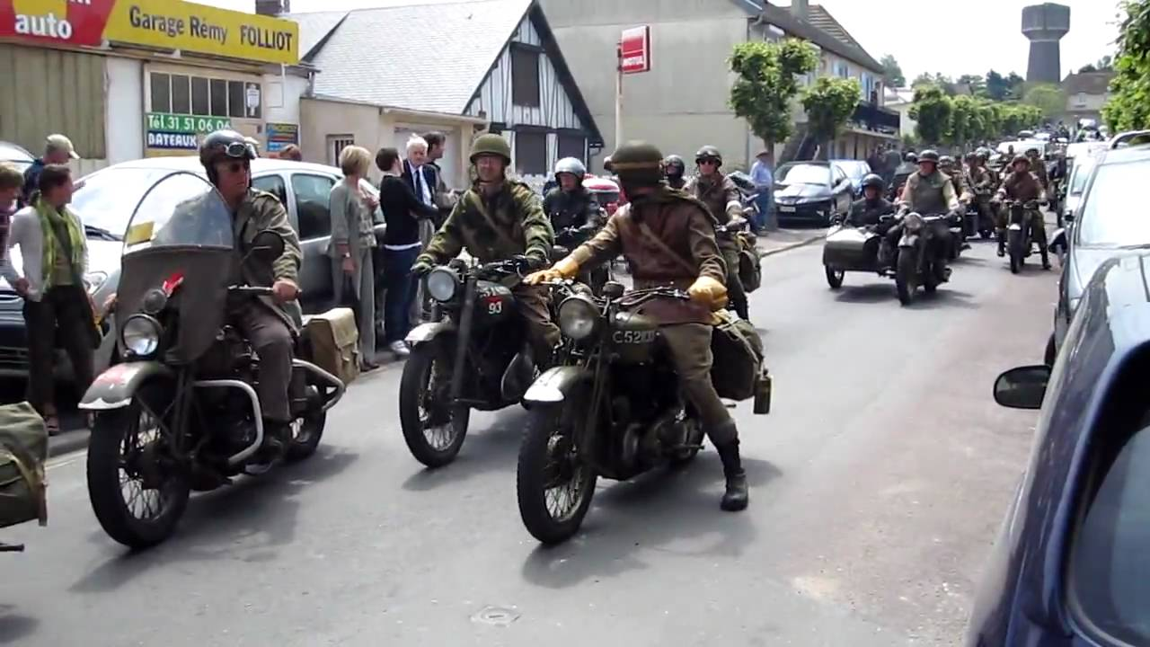 Motorcycle Parade At Arromanches