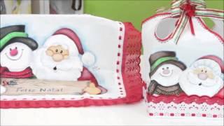 Pintando toalha natalina para bandeja por Cátia Cristina