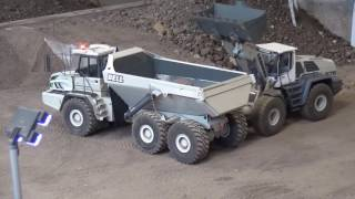 RC dump truck working at the construction site