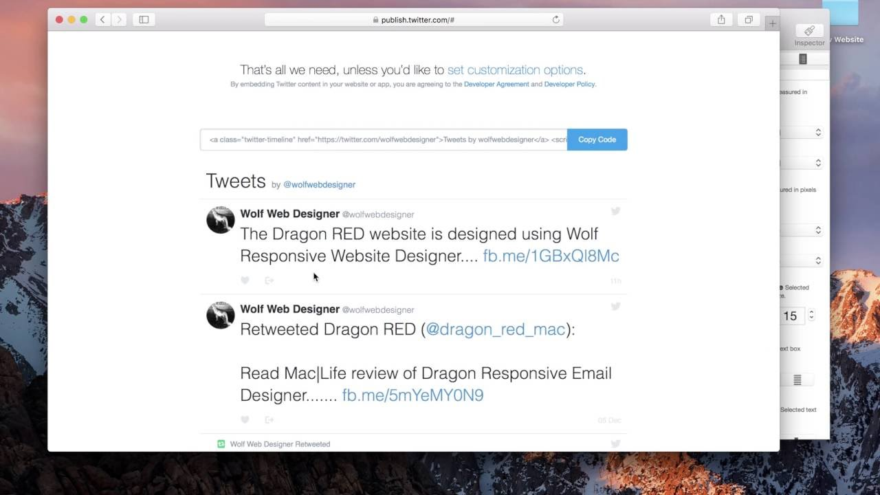 How to embed Twitter Timeline into a responsive website using Wolf for Mac