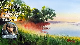 Watercolor Landscape Painting Tutorial / dawn lake / Wet in Wet Technique / Color mixing [ART JACK]