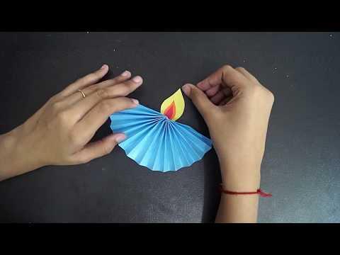 Paper Diya Craft || How To Make Paper Diya || Diwali Decoration Ideas || DIY Paper Diya || Crafts