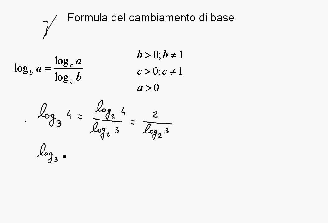 Logaritmi formula per il cambiamento di base YouTube