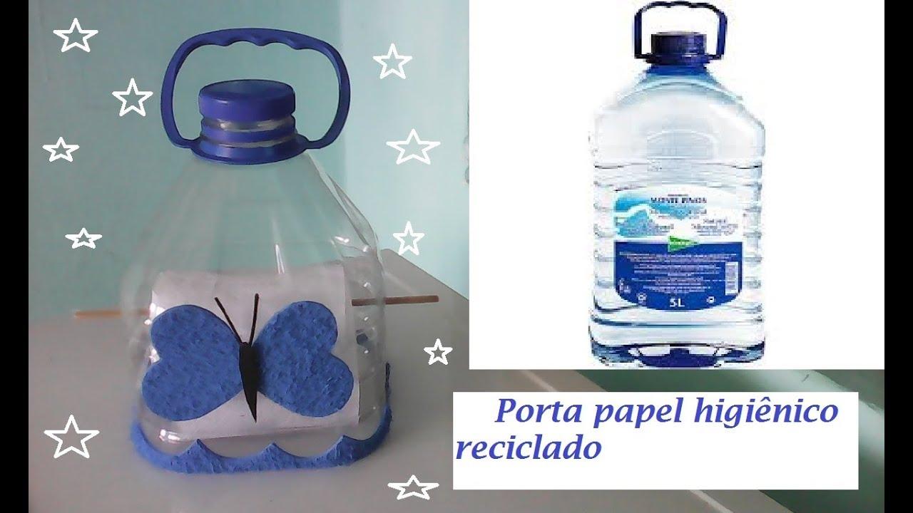 Adesivo De Parede Para Sala ~ Porta papel higi u00eanico de garrafa fácil, rápido, pratico, reciclagem, #artesanato YouTube