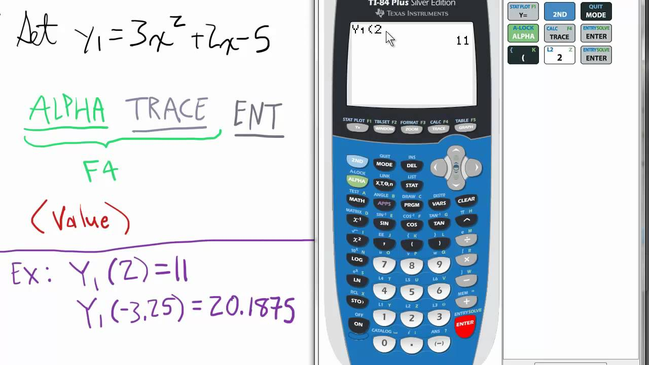 Finding a (Y) value of a Function TI 84 Calculator - YouTube