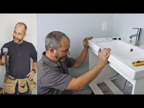 How to Install an IKEA Cabinet , Wall Mount Vanity Cabinet, Sink and Faucet