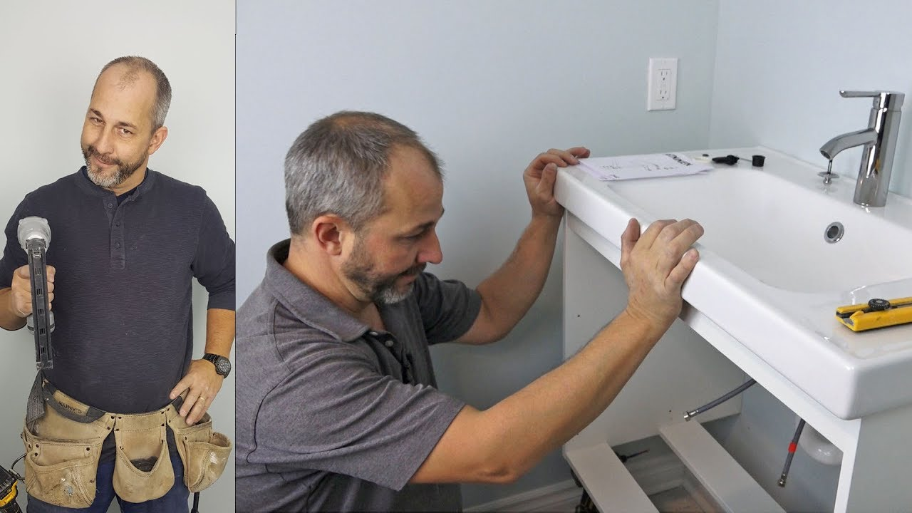 how to install an ikea cabinet wall mount vanity cabinet sink and faucet