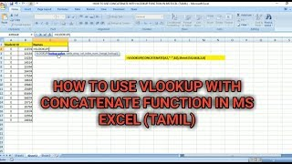 HOW TO USE CONCATENATE WITH VLOOKUP FUNCTION IN MS EXCEL (TAMIL)