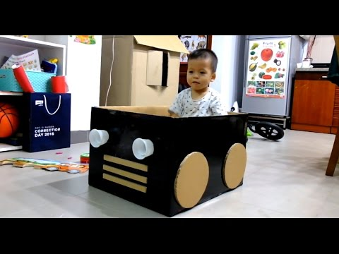 Cars made out of cardboard boxes