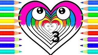 Learn Colors with Rainbow Hearts - Baby Draw and Coloring Pages For Children