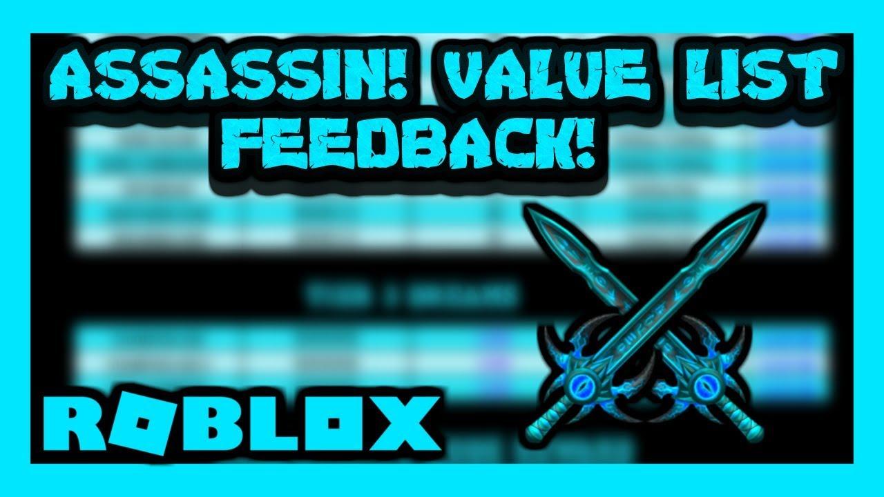Roblox Assassin Value List Feedback January 2020 Youtube
