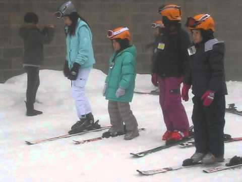Kelsey C and Nathan C taking ski lessons at Mt Seymour