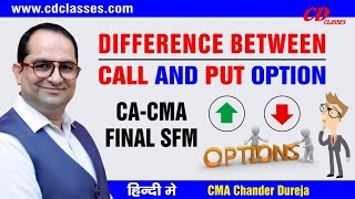 Difference Between Call and Put OPTION II CA/CMA Final SFM Video Classes II 9717356614