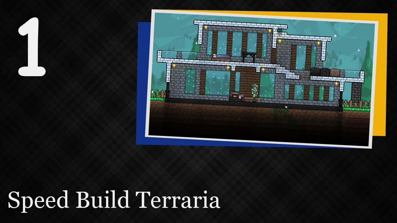 Speed build terraria 1 modern house youtube House build