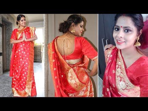 How to wear a saree in Bengali style | স্যারি বঙ্গের স্টাইল - Srishti's Diary