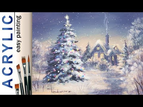 """Christmas tree landscape"". How to paint🎨ACRYLIC New Year DEMO tutorial"