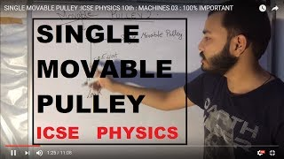 ICSE CLASS 10th PHYSICS: MACHINES 04 :SINGLE MOVABLE PULLEY : 100% IMPORTANT