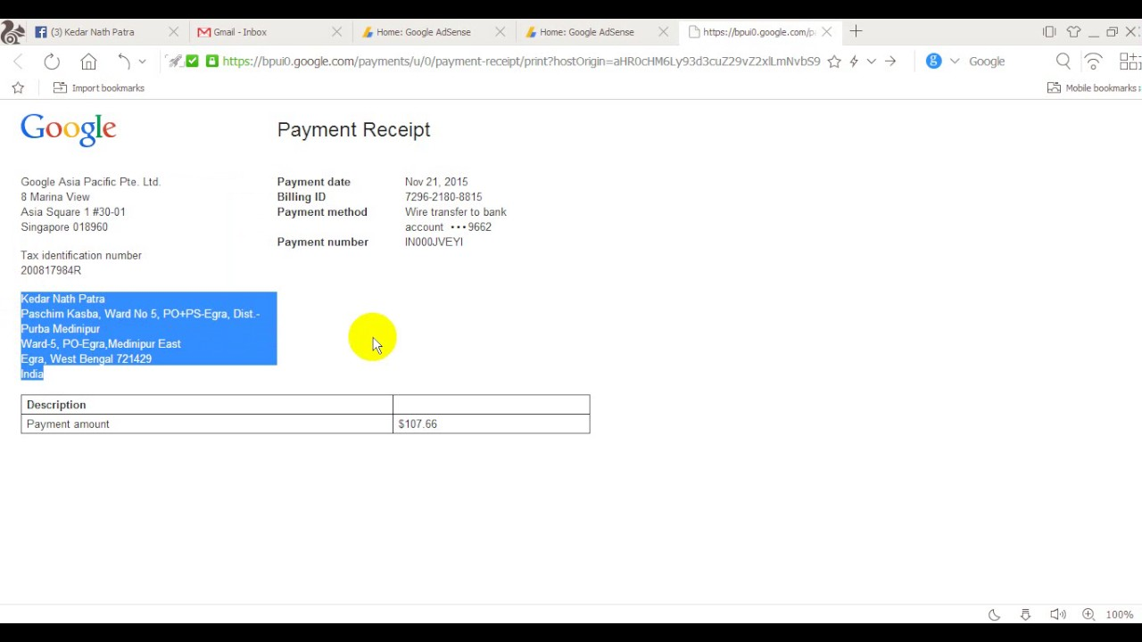 Google Adsense Payment Receipt Check YouTube
