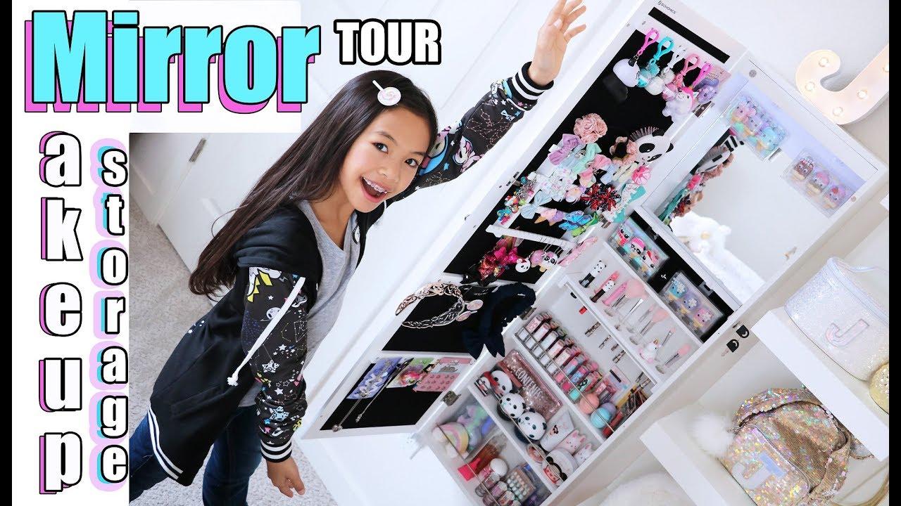Mirror Storage Makeup Vanity Tour Youtube