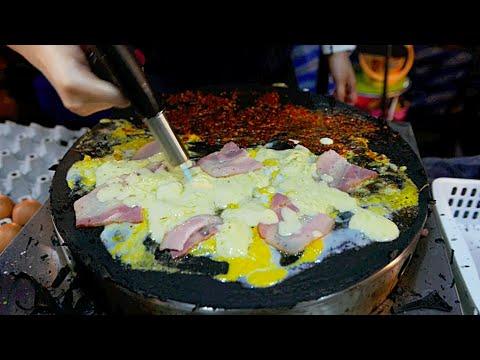 Thai Street Food - BLACK CREPE w/ Ham Cheese Egg and Bacon