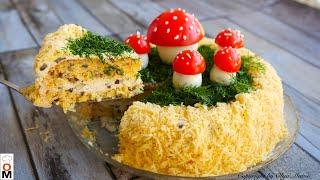 Закусочный ТОРТ с грибами и сыром Mushroom cake recipe