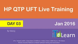 qtp uft live training day 03 demo session jan 2016