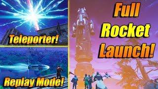 FULL Rocket Launch In Fortnite Battle Royale! Teleporter, BEST VIEW! ALIENS, Cracked Sky &More