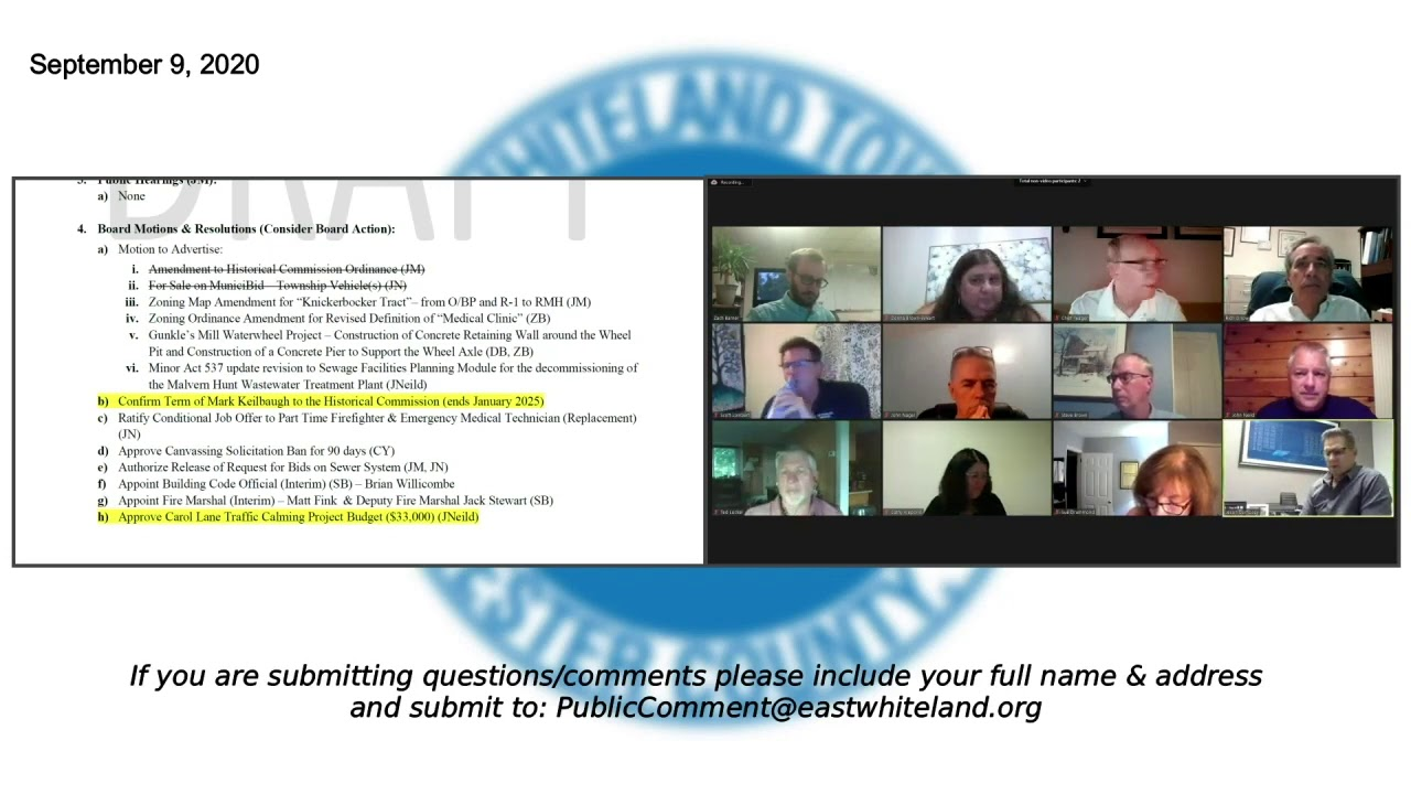 Sept 9 2020 East Whiteland Township Board of Supervisors