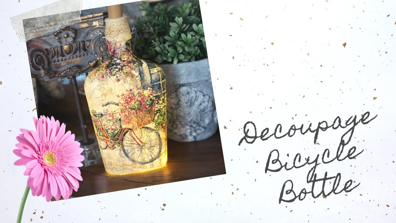 DIY Napkin Decoupage Bottle