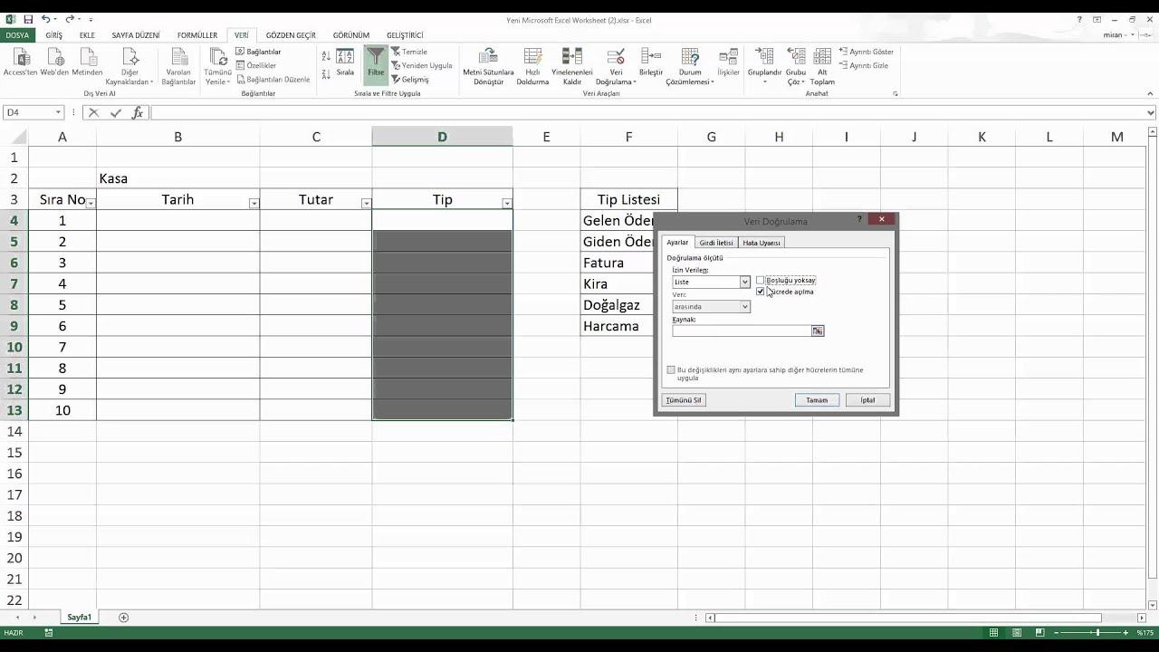 Excel Veri Do Rulama Ve Ac L R Kutu Yapmak