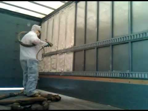 Spray Foam Application On Truck Walls To Insulate Youtube