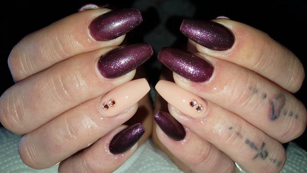 Deep Purple vs Sweet Nude ❤ Ballerina Style Acrylic Nails - YouTube