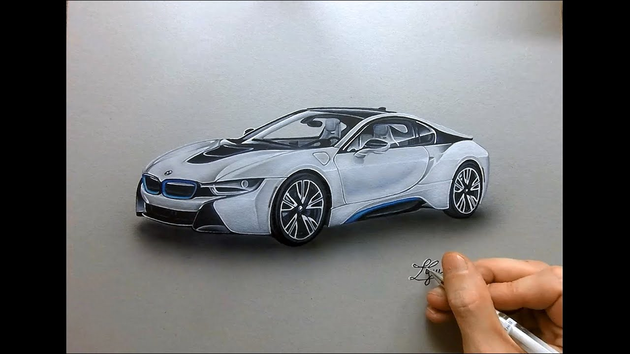Drawing Time Lapse Hyperrealistic Art How To Draw Bmw I8 Youtube