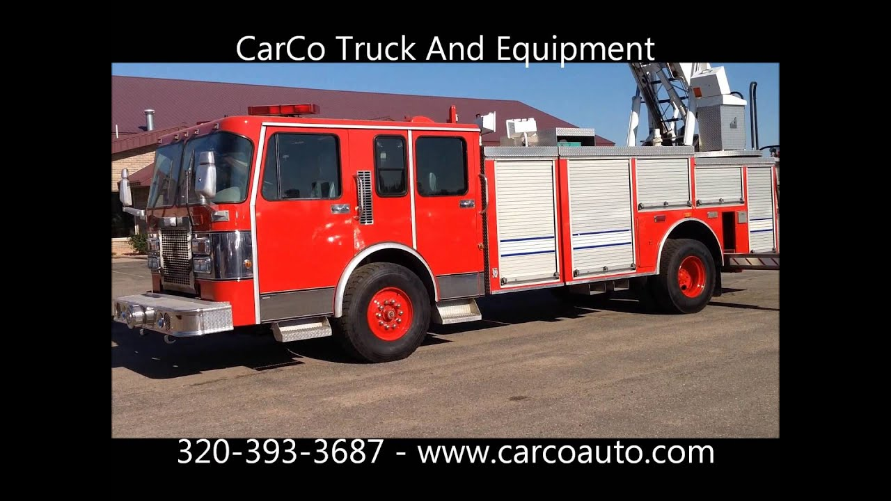 SPARTAN FIRE TRUCK WITH 75' SMEAL AERIAL LADDER FOR SALE BY CARCO TRUCK - YouTube
