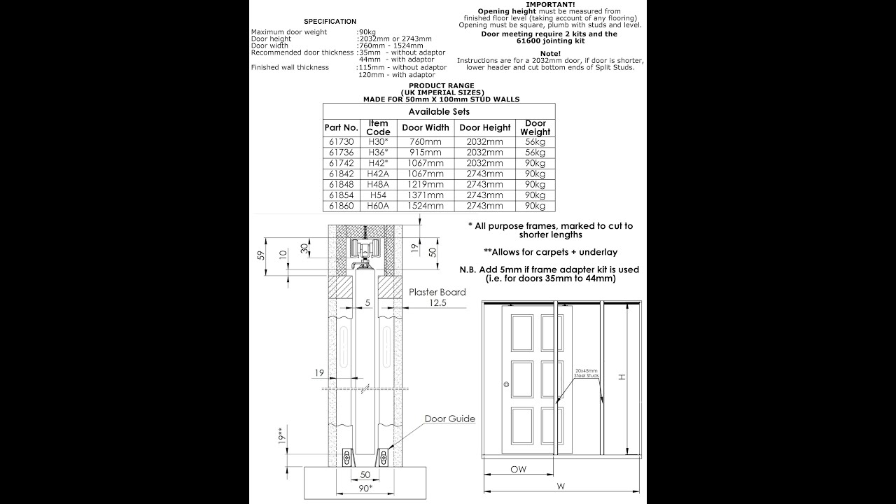 Hideaway Pocket Door Animated Fitting Instructions