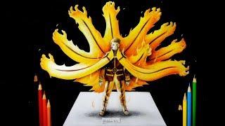 Como Dibujar a Naruto Hokage Modo Kyubi en 3D | How To Draw Naruto Uzumaki | Boruto  Next Generation