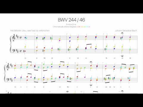 Bach Chorale BWV 244-46 Harmonic analysis with colored note-Herzliebster Jesu,was hast du verbrochen