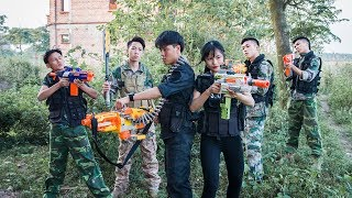 Superhero action S.W.A.T & Beautiful Girl Nerf guns The Hidden Face & Man Escaped Nerf war