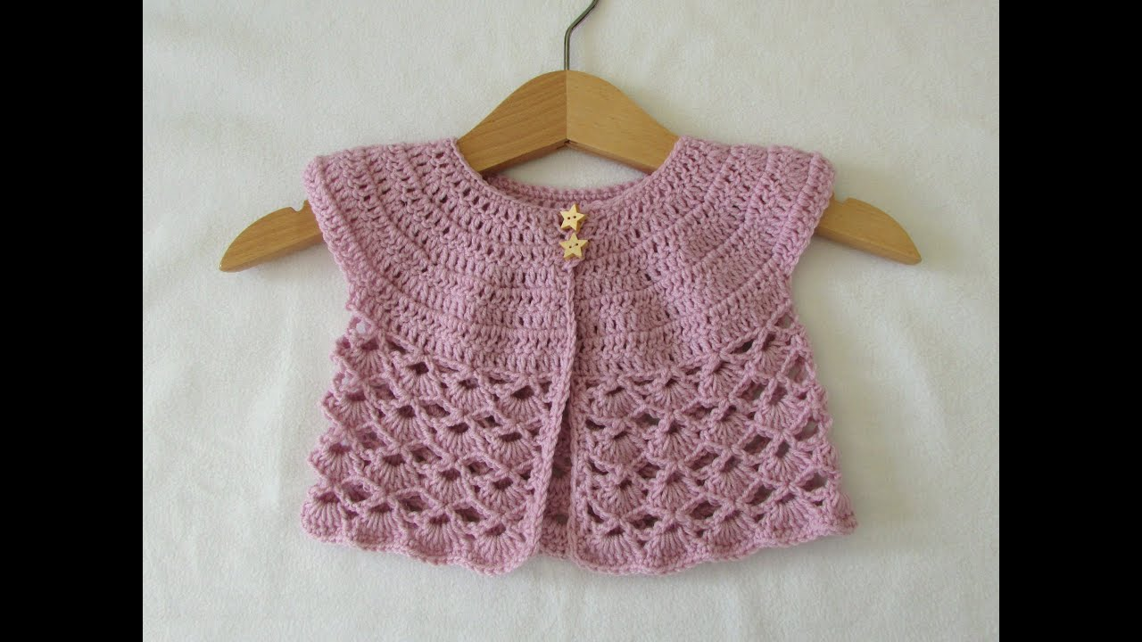 577c3e571 How to crochet an EASY lace baby cardigan   sweater - YouTube